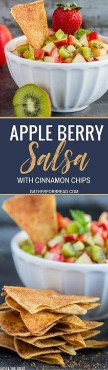 Apple Berry Salsa - Apple Berry Salsa - Homemade fruit salsa...  Apple Berry Salsa - Apple Berry Salsa - Homemade fruit salsa made with strawberry apple and kiwi paired with fresh warm cinnamon chips for a delicious appetizer or snack. Recipe : http://ift.tt/1hGiZgA And @ItsNutella  http://ift.tt/2v8iUYW