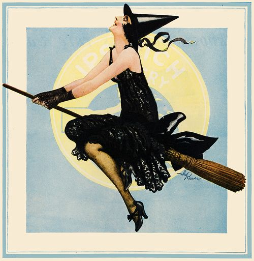 Illustration vintage pin up advertising 1920s vintage halloween *pin