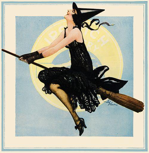 Illustration vintage pin up advertising 1920s vintage halloween *pin