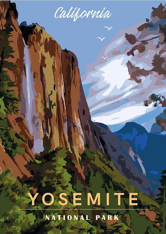 Yosemite National Park California Vintage Travel Poster Diy Printable Pdf Jpeg Download Kalifornien Nationalparks Klassische Reiseposter Reiseposter
