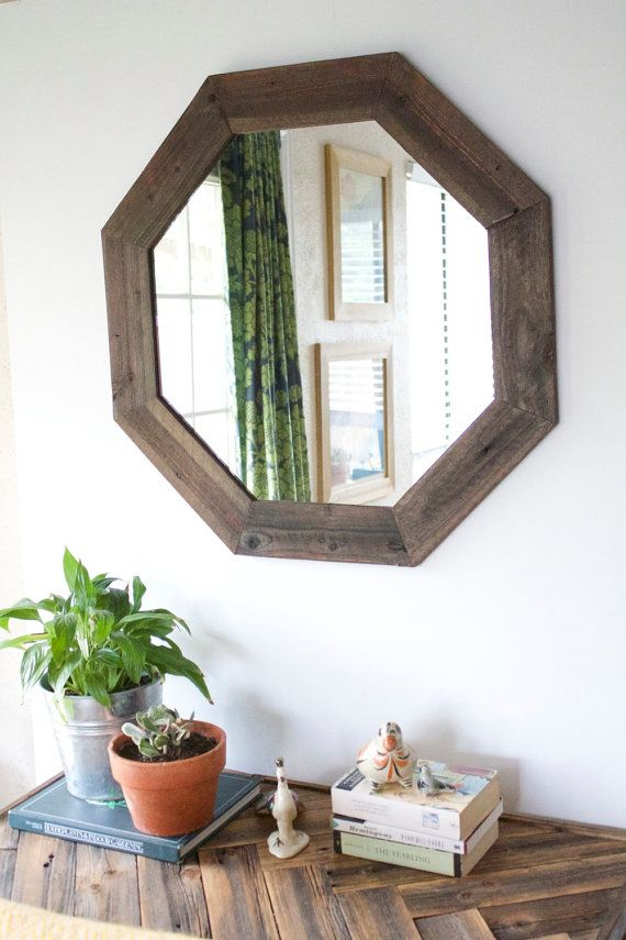 29x29 Modern Octagon Mirror- Reclaimed Wood - Modern Home Decor - Framed Mirror - Wood Mirror - Hurd and Honey - Home Decor