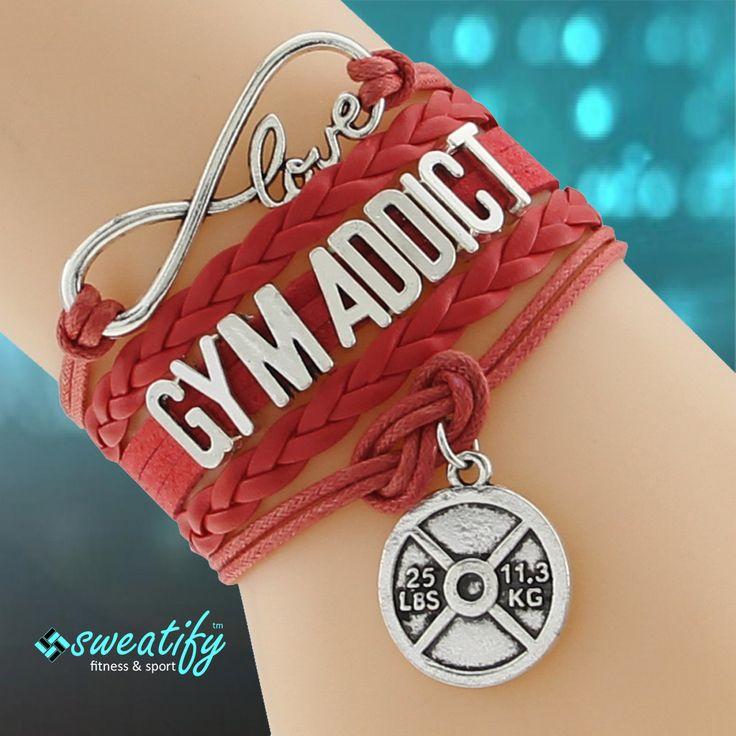 Sweatify Handmade Infinity Love GYM ADDICT Charm Bracelet