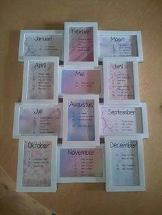 Kalender met lijst van de action. Van fb