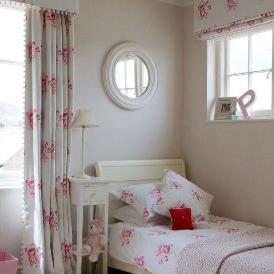 Bobble trim Cabbages & Roses curtains with pelmet