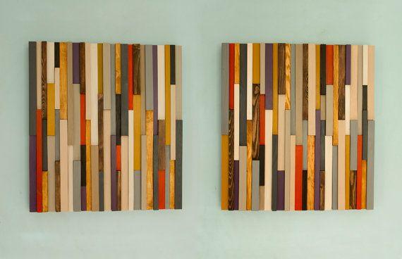 Reclaimed Wood art modern wood art 3D set of 2 by ArtGlamourSligo