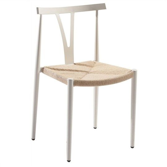 Alpha Aluminium Chair with Rattan Seat - White - Dining Chairs - Dining
