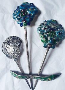 Spilloni Ferma Capelli Eleganti e Rari Argento Antico Smaltato Cina '800