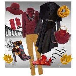 Fall in the city - Podzim ve městě - styling v barvách padajícího listí doplněný černým kabátem