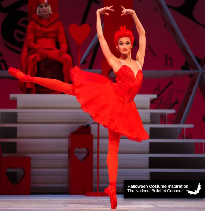 The National Ballet of Canada Halloween Costume Inspiration Queen of Hearts from Alice's Adventures in Wonderland 1. red crown 2. red heart-themed dress 3. heart-topped staff 4. jam tart Tanya Howard in Alice's Adventures in Wonderland. Photo by...
