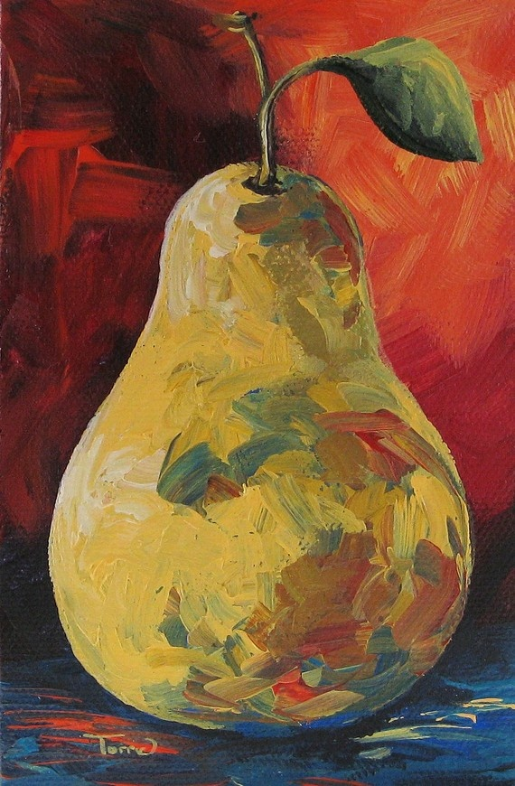 The Pear Chronicles 004 4 x 6 Original Painting on Gallery Wrapped Canvas by Torrie Smiley
