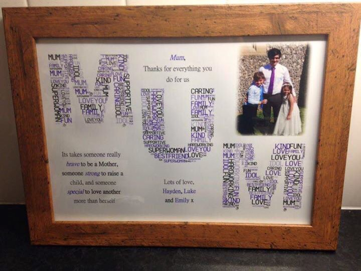 Personalised Mum word art frame. Perfect gift for Mother's Day, birthday or just because :-) find us on Facebook.