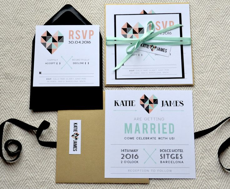 Retro geometric wedding invitation suite -- mint, coral, black and gold by MrsQdesignstudio on Etsy