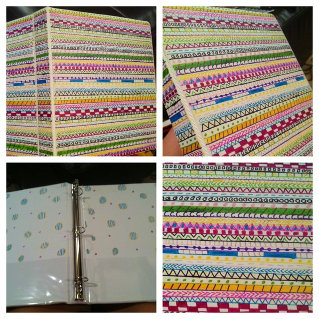 Decorated Binder With Sharpies! Aztec Print.