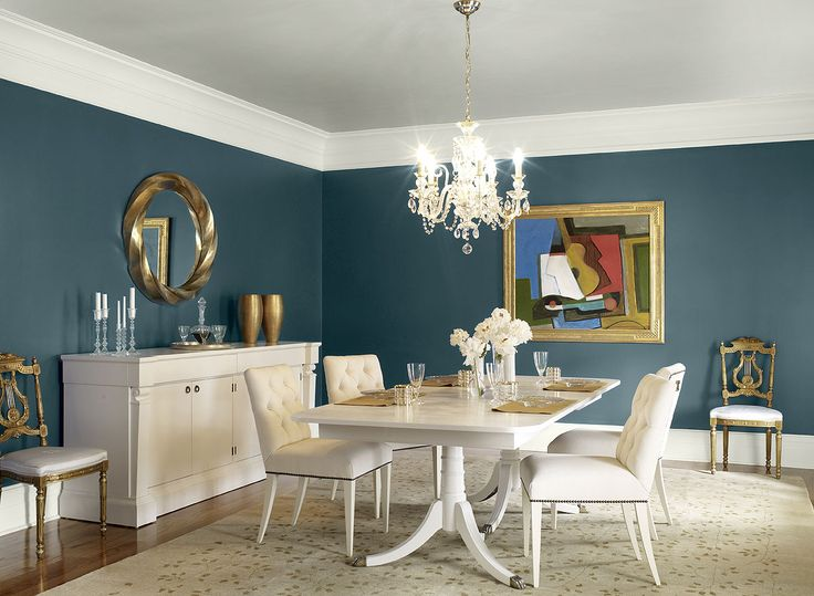 Benjamin Moore Paint Colors - Blue Dining Room Ideas - Contemporary Teal Dining Room - Paint Color Schemes . . . . . Rich, saturated Teal (2055-10) dresses up the dining room. . . . . . Walls - Teal (2055-10); Ceiling - Metropolitan (AF-690); Trim - Wickham Gray (HC-171).