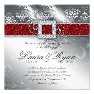 Christmas Wedding Invitations | Christmas Wedding Damask Jewel Red White Glitter Invite >> Wedding ...