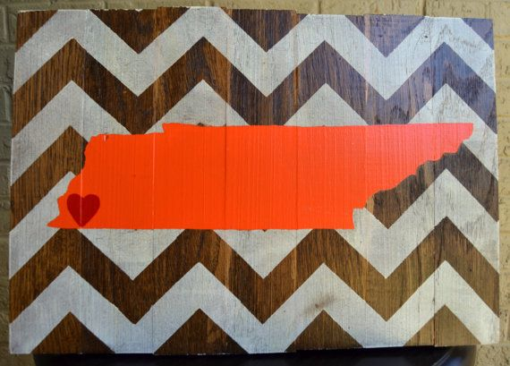 Reclaimed Wood Wall Art Tennessee on Chevron by ArpanaHouse