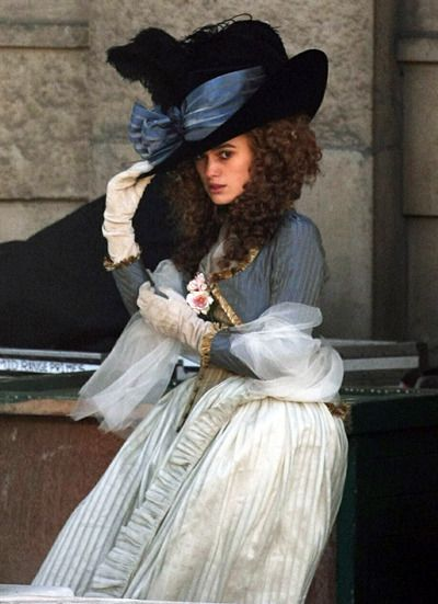 Kiera Knightly in The Duchess. Once again, another fabulous 1700's dress with a matching hat <3 :D Loving it.