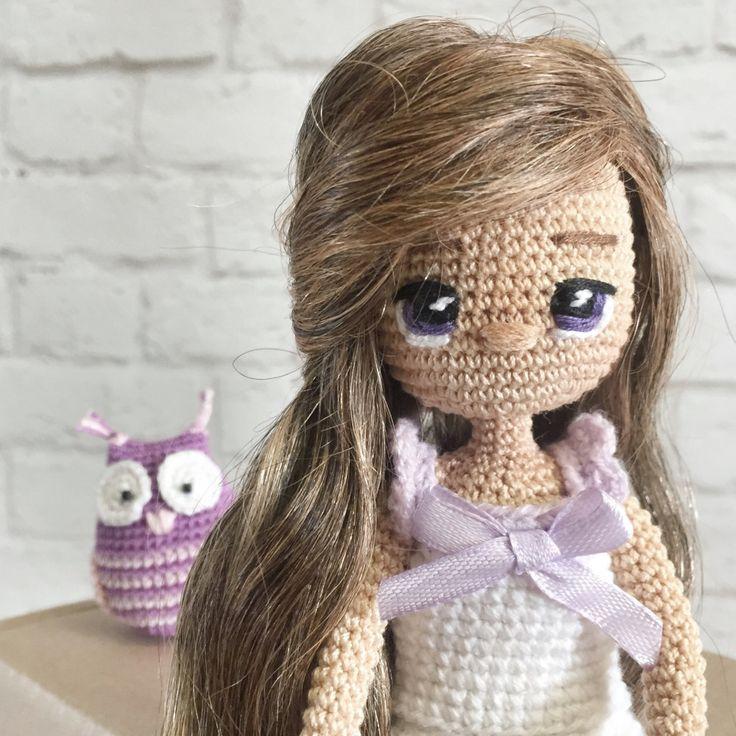 Авторская кукла Сонечка ручной работы с доставкой по России и СНГ, рост 20 см, материалы: пряжа хлопок, проволочный каркас.
