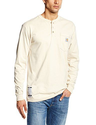 Carhartt Men's Flame Resistant Force Cotton Long Sleeve Henley,Sand,X-Large:   This easy-wearing, hard-working 6.75-ounce, 100% cotton FR jersey knit Henley wicks away sweat for comfort and fights odors. It features a rib-knit Henley collar and rib-knit cuffs, a 3-button front, a convenient left-chest pocket, and side-seamed construction that minimizes twisting. Carhartt FR and HRC 2 labels are sewn on the pocket. Our shirt meets the performance requirements of NFPA 70E and is UL Class...