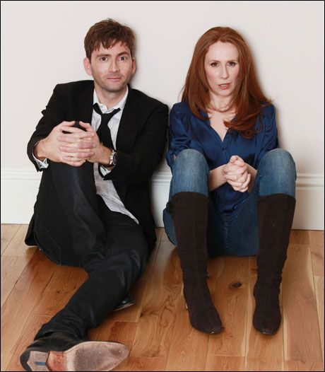 David Tennant and Catherine Tate!  People,  you see that sassy, beautiful,  red head in the above picture? The one who can quote Shakespeare at the drop of a hat? The one who isn't a size 2 but is looked upon as beautiful even in the cutthroat film industry?  The woman who can make anyone smile and laugh? Her? Yeah, she's my hero!