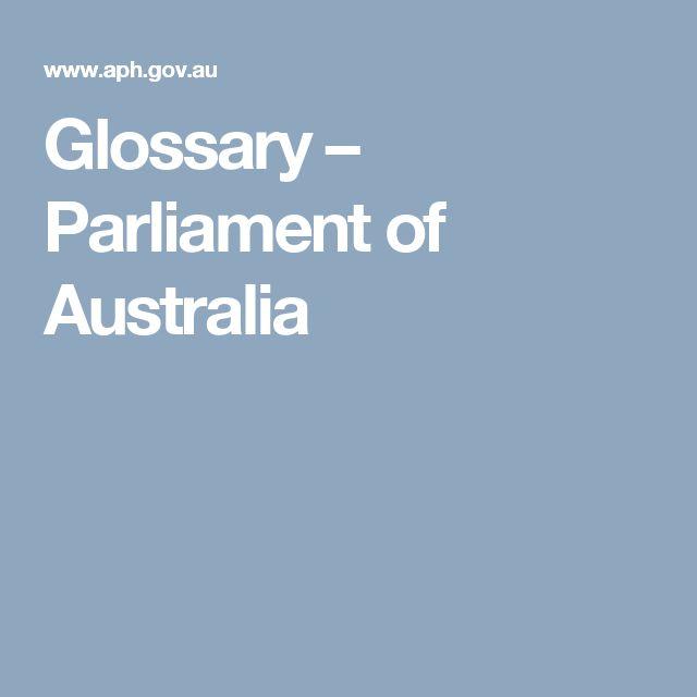 Glossary – Parliament of Australia