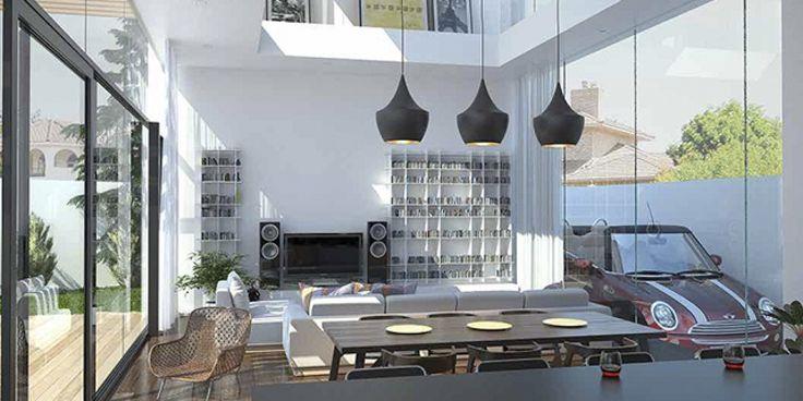 Salón y Cocina. Vivienda Unifamiliar San Javier - Arquitania Business