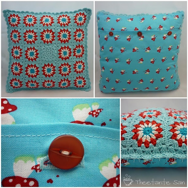 Crochet Cushion  - I like the idea of combining fabric and yarn & picking out the fabric colour with the yarn.