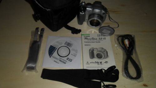 Canon-PowerShot-S2-IS-5-0-MP-Digital-Camera-Case-Strap-Instructions-Cables-CD
