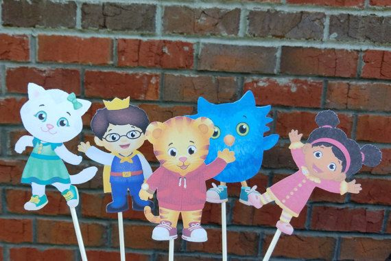Set of 5 Daniel Tiger Centerpiece Picks or Cake by MagnoliaDelight