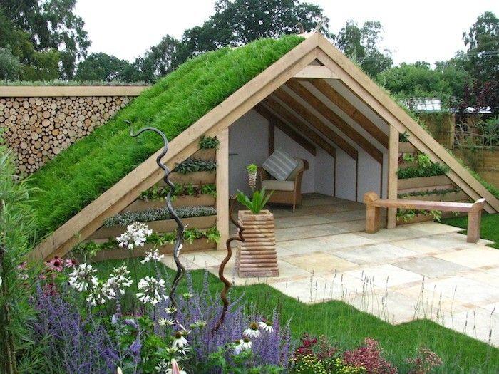 petit abris de jardin en bois forme chalet avec toit pente végétal