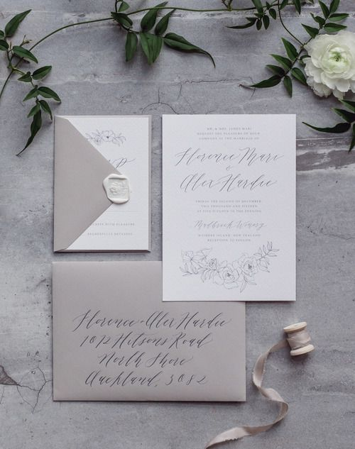 FOR THE STATIONARY || White & grey hanwritten calligraphy invitation suite by Michaela McBride || NOVELA BRIDE...where the modern romantics play & plan the most stylish weddings... www.novelabride.com @novelabride #jointheclique