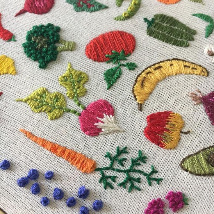 Cute vegetable and fruit embroidery by megglamar