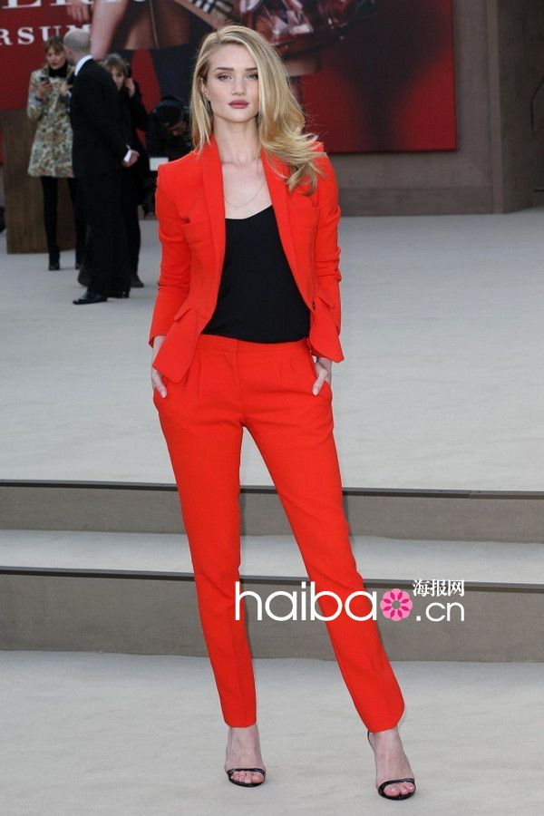 Black Orange Runway Jacket Blazer Pant Classic Suit Womens