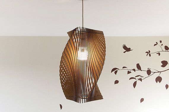 Gedraaide Lasercut houten lampenkap No.2 - Medium