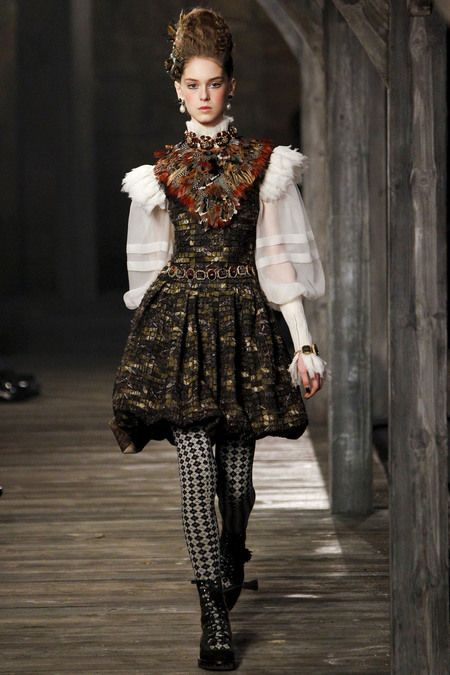 5. Chanel Pre-Fall 2013; The sheer wide puffed sleeves is a modern take on the doublet and the skirt resembles men's breeches.