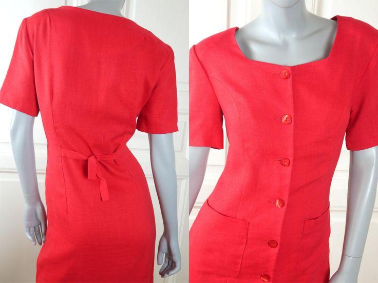 Estonian Vintage Midi Dress, Red Linen Blend Short-Sleeve Knee-Length Slim-Fitting European Summer Dress: Size 8 US, Size 12 UK by YouLookAmazing on Etsy