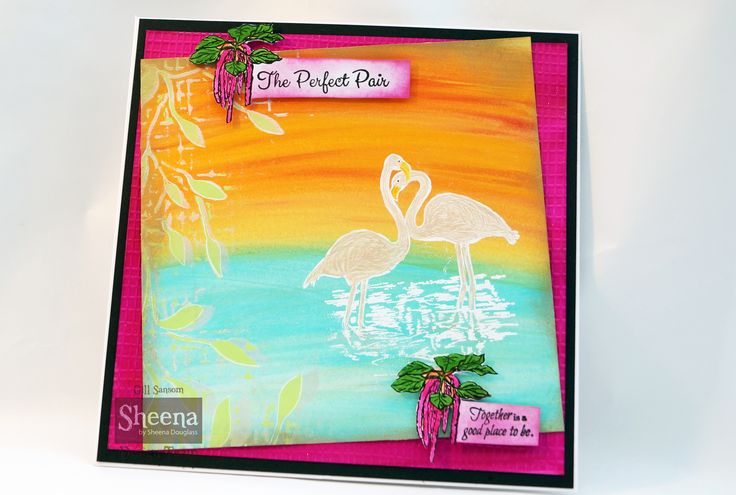 sample made using Sheena Douglass temptingly tropical FLAMINGOS.