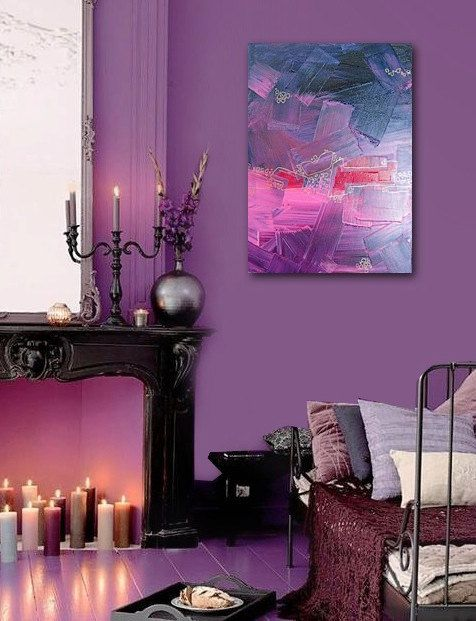 I don't really care about the painting, but I die for the wall color and matching glossy purple floor.