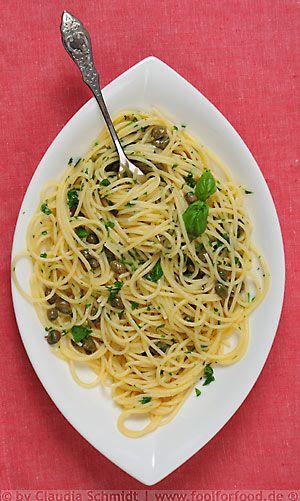 Spaghetti mit Kapern-Zitronen-Sauce