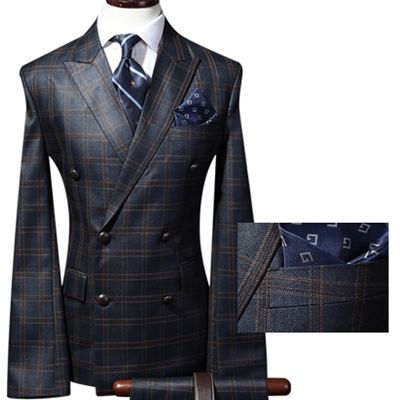 mens suits uk lounge suit double breasted suit checked plaid navy blue suit by wfashionmall