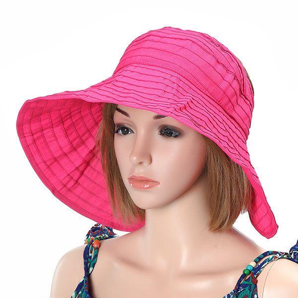Women Summer Foldable Beach Sun Protective Hat Outdoor Driving Anti-UV Wide Brim Visor Cap