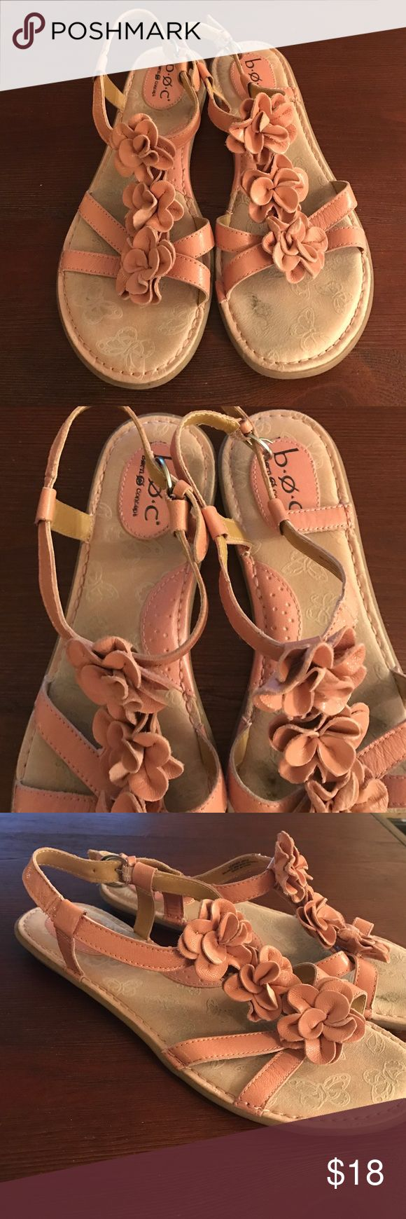 BOC Leather Sandals BOC Pink flower flat sandals. These have arch support and a tiny heel (around 1/2 inch) for extra comfort. These show a little wear but are still in very good condition. Born Shoes Sandals