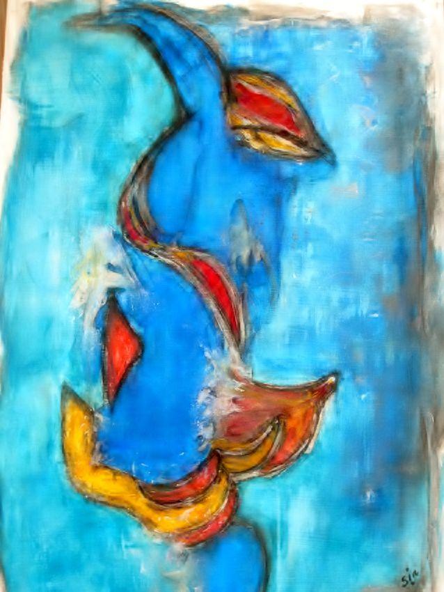 """Vrolijke Vis"""""""" schilderij in acryl en krijt"""