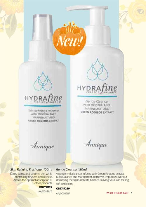 Annique's all NEW Hydrafine range for normal and combination skin type.