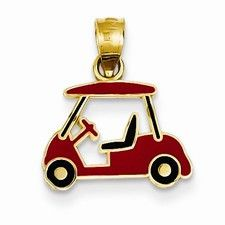 14k Gold Enameled Golf Cart Charm #$50---$100 #14k-Yellow-Gold #Ball-Games