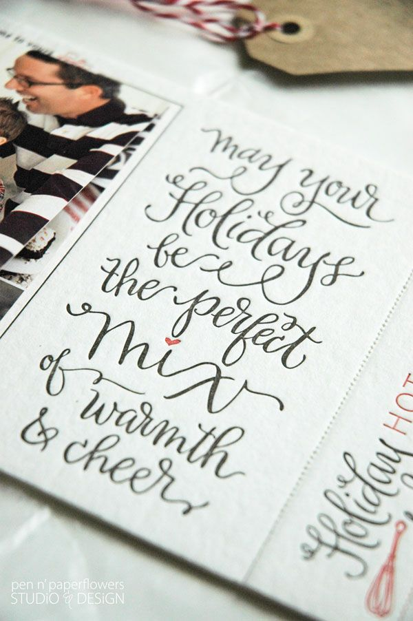Gorgeous Letterpressed Holiday card with a lovely calligraphy font. Love this sentiment!! You should see the rest of the details! Wow!