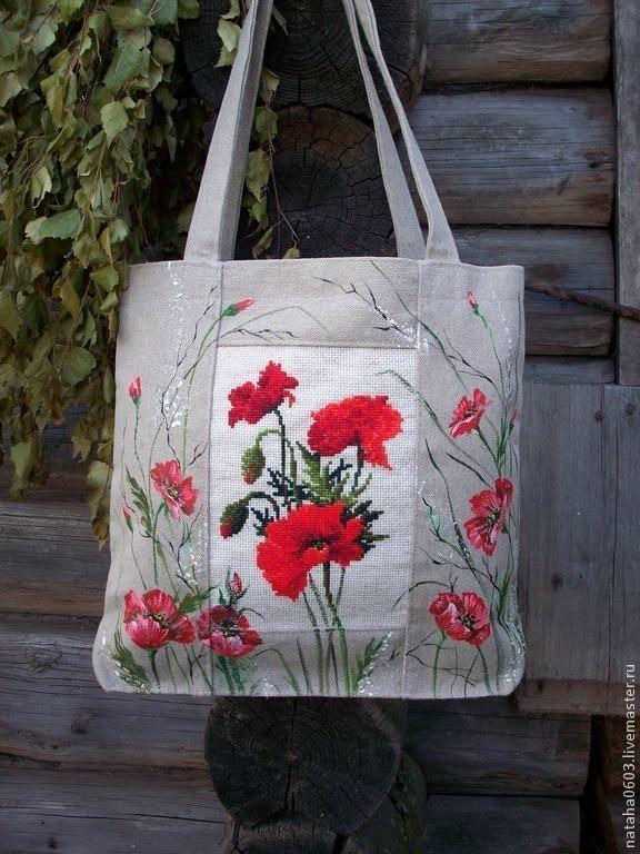 """Купить Льняная сумка с ручной вышивкой и росписью """"Маки"""". - ярко-красный, рисунок, летняя сумка"""