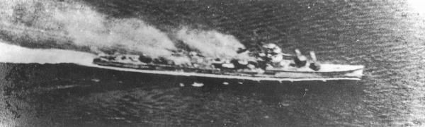 Destroyer Wakatsuki under attack at Ormoc Bay, Leyte, Philippines. 11 November 1944.