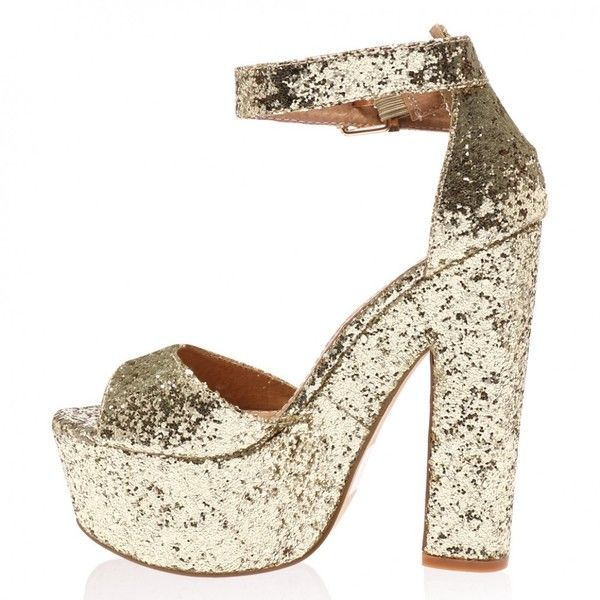 Brandi Gold Glitter Platform High Heel Sandals (145 RON) ❤ liked on Polyvore featuring shoes, sandals, gold heeled sandals, glitter sandals, gold glitter shoes, high heel shoes and gold shoes