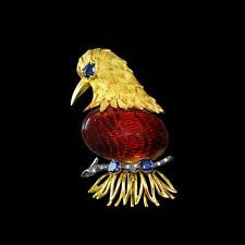 Solid 18k gold eagle brož, guilloche smalt, safíry, diamanty, 16,7 GRS MF